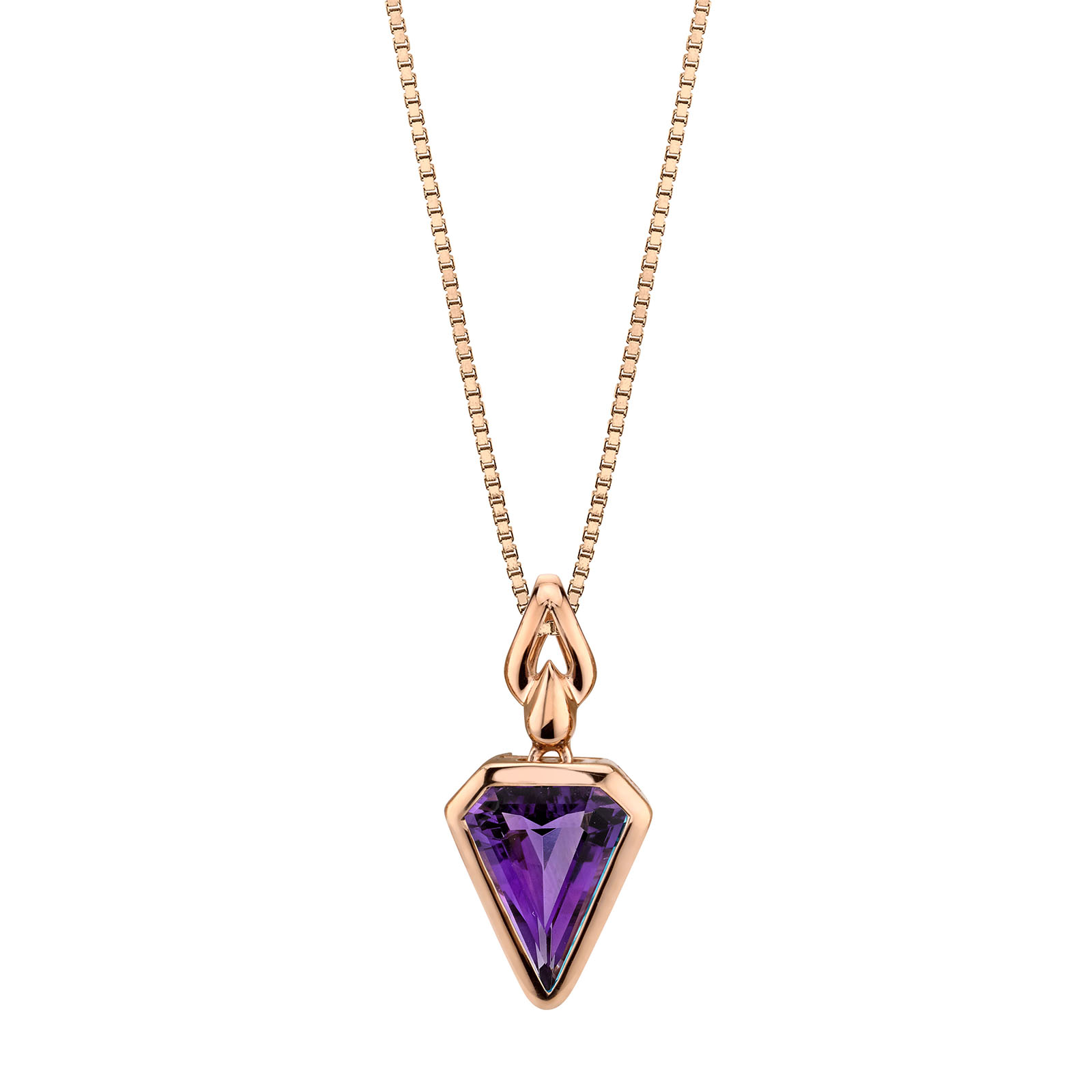 Amethyst Chevron 9ct Rose Gold Pendant with Rose Gold Plated Silver Chain