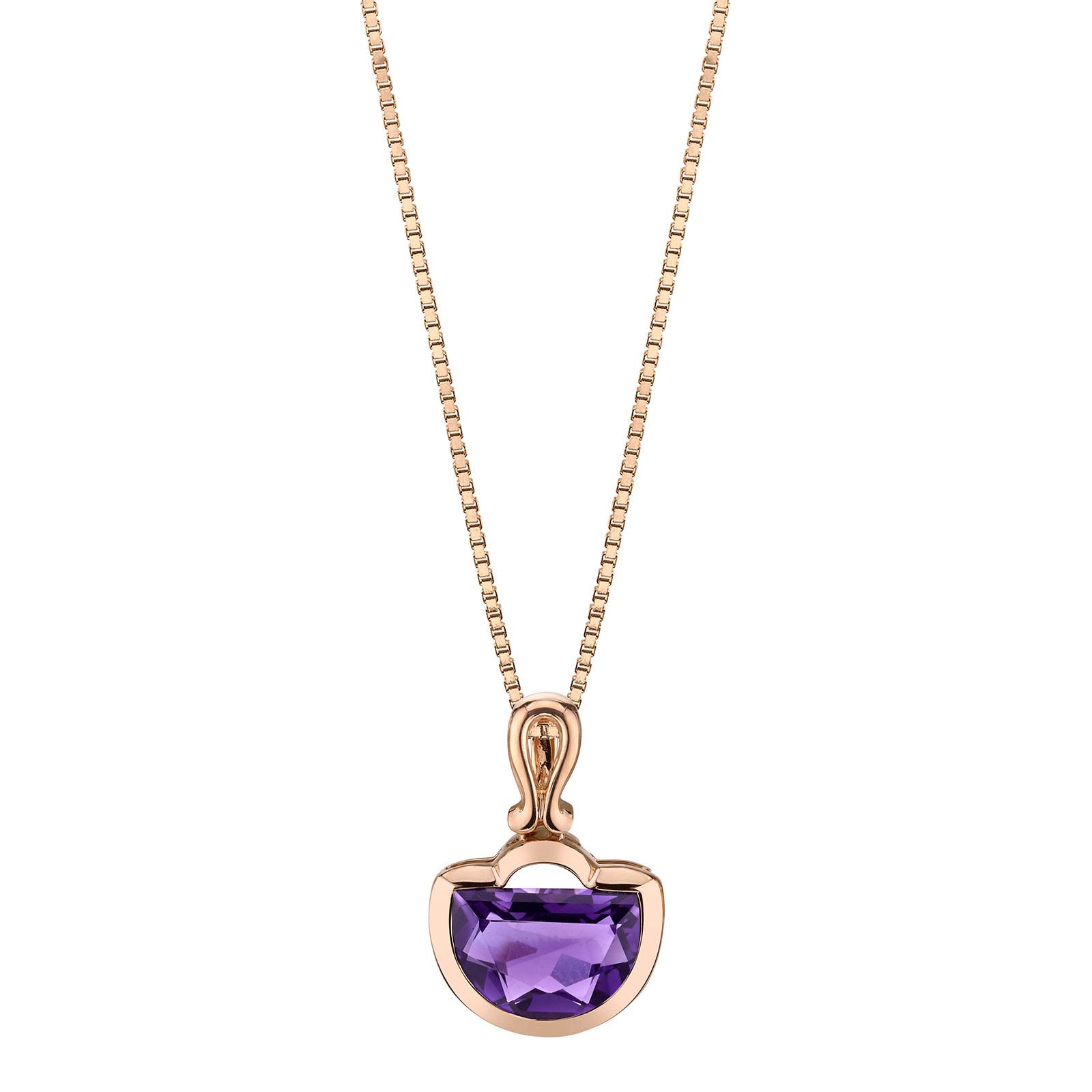 Amethyst Half Moon 9ct Rose Gold Pendant with Rose Gold Plated Silver Chain
