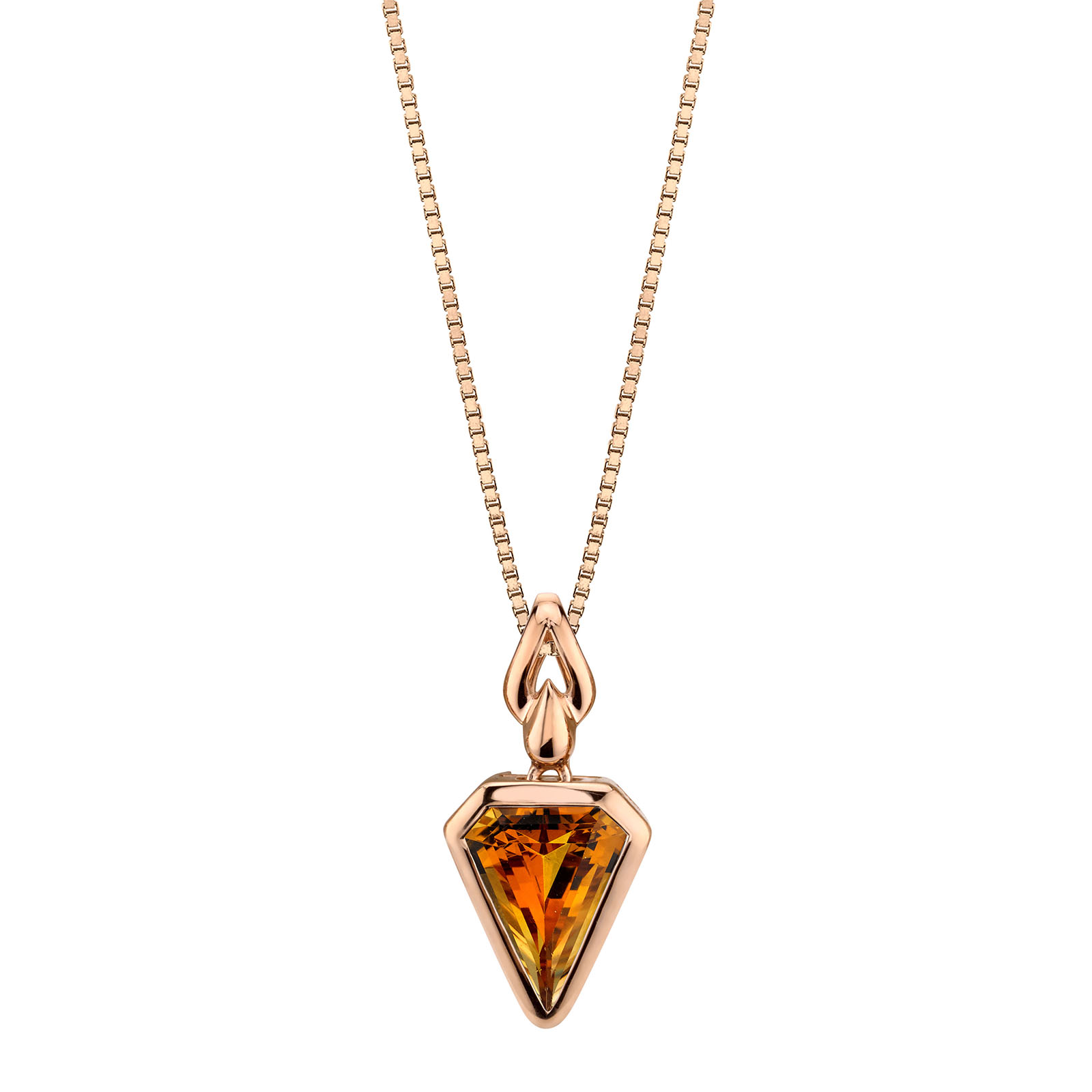 Citrine Chevron 9ct Rose Gold Pendant with Rose Gold Plated Silver Chain