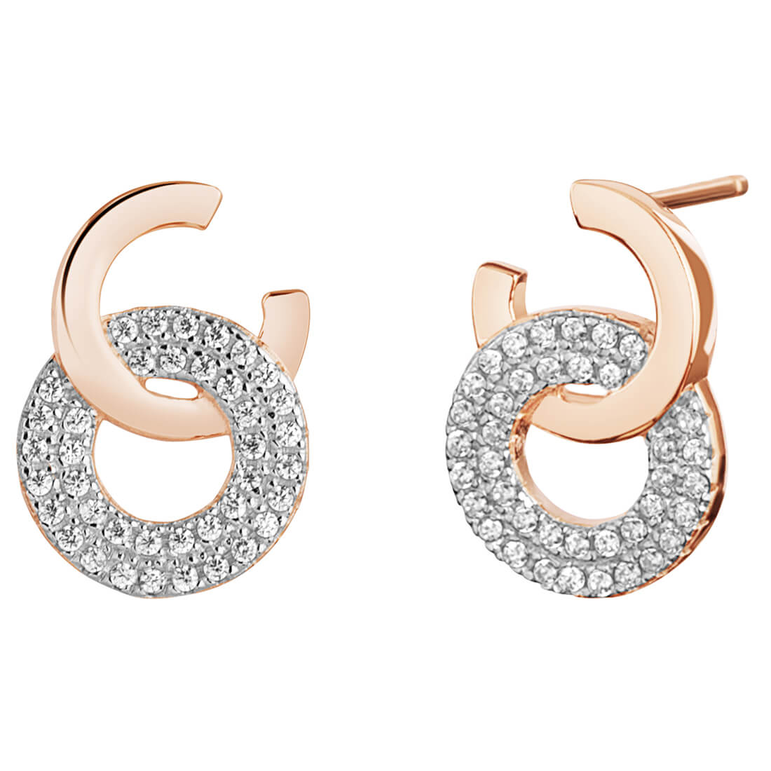 CZ Circle Rose Plated Dangle Earrings in Sterling Silver