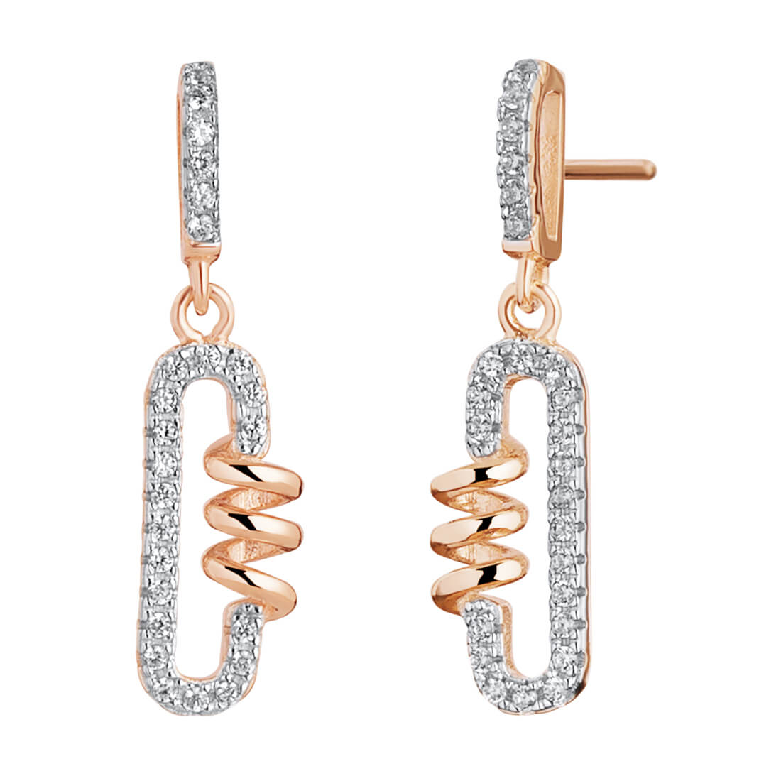 CZ Coil Rose Plated Dangle Drop Earrings in Sterling Silver