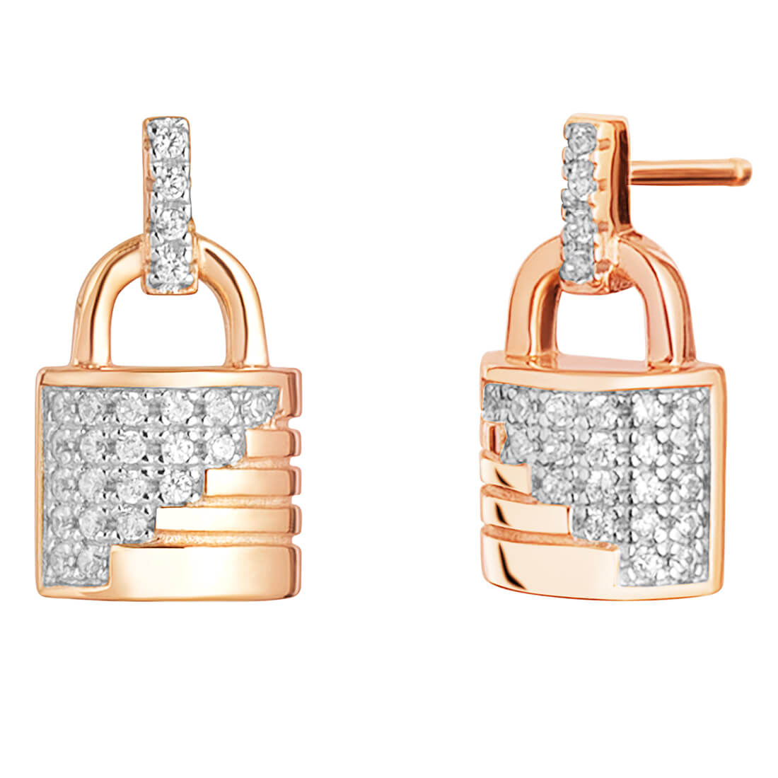CZ Ribbed Padlock Rose Plated Earrings in Sterling Silver