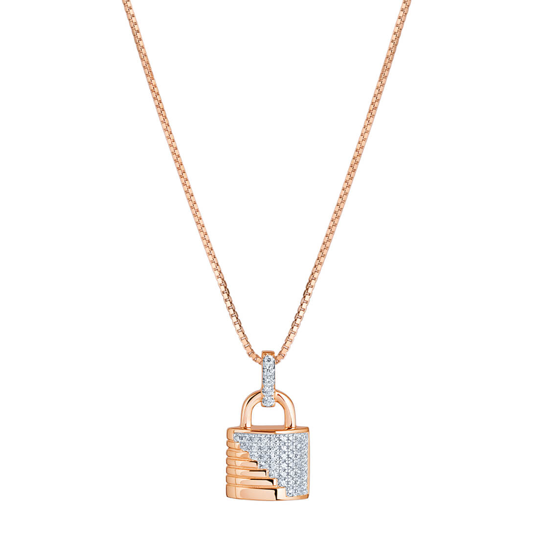 CZ Ribbed Padlock Rose Plated Pendant Necklace in Sterling Silver