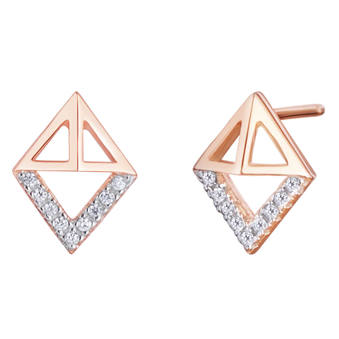 CZ Triangle Rose Plated Dangle Earrings in Sterling Silver