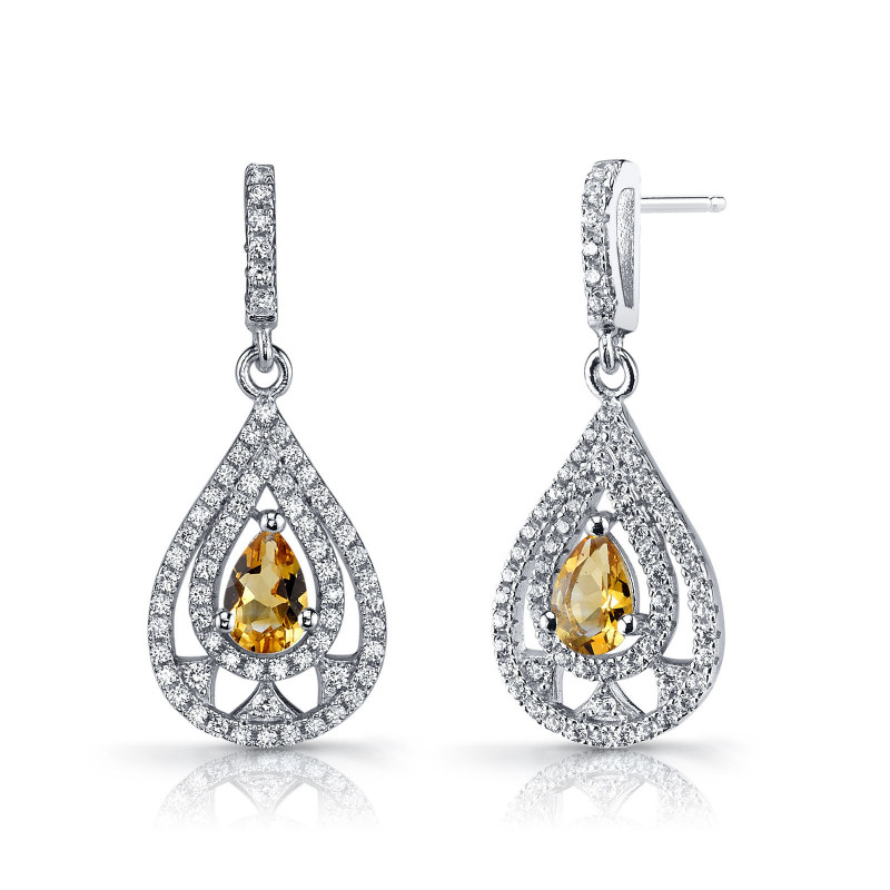 Citrine & CZ Dahlia Drop Earrings in