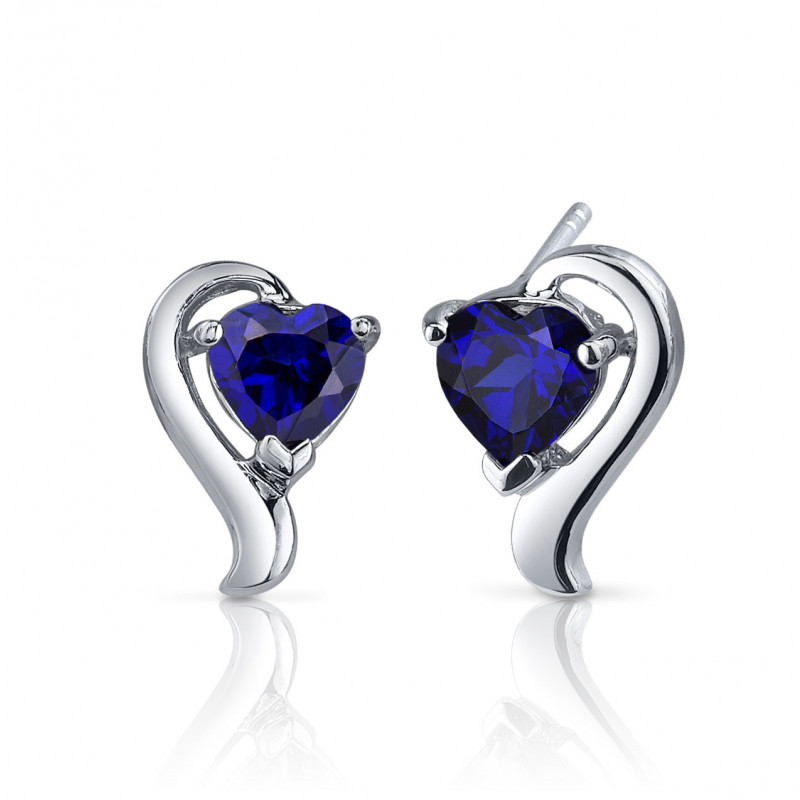 23420ee4a Heart Shaped Sapphire Earrings in Sterling Silver