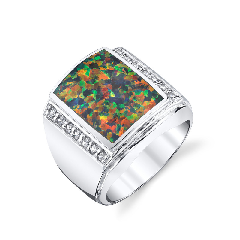 cc19ef26b06e1a Men's Black Opal & CZ Aston Ring in Sterling Silver