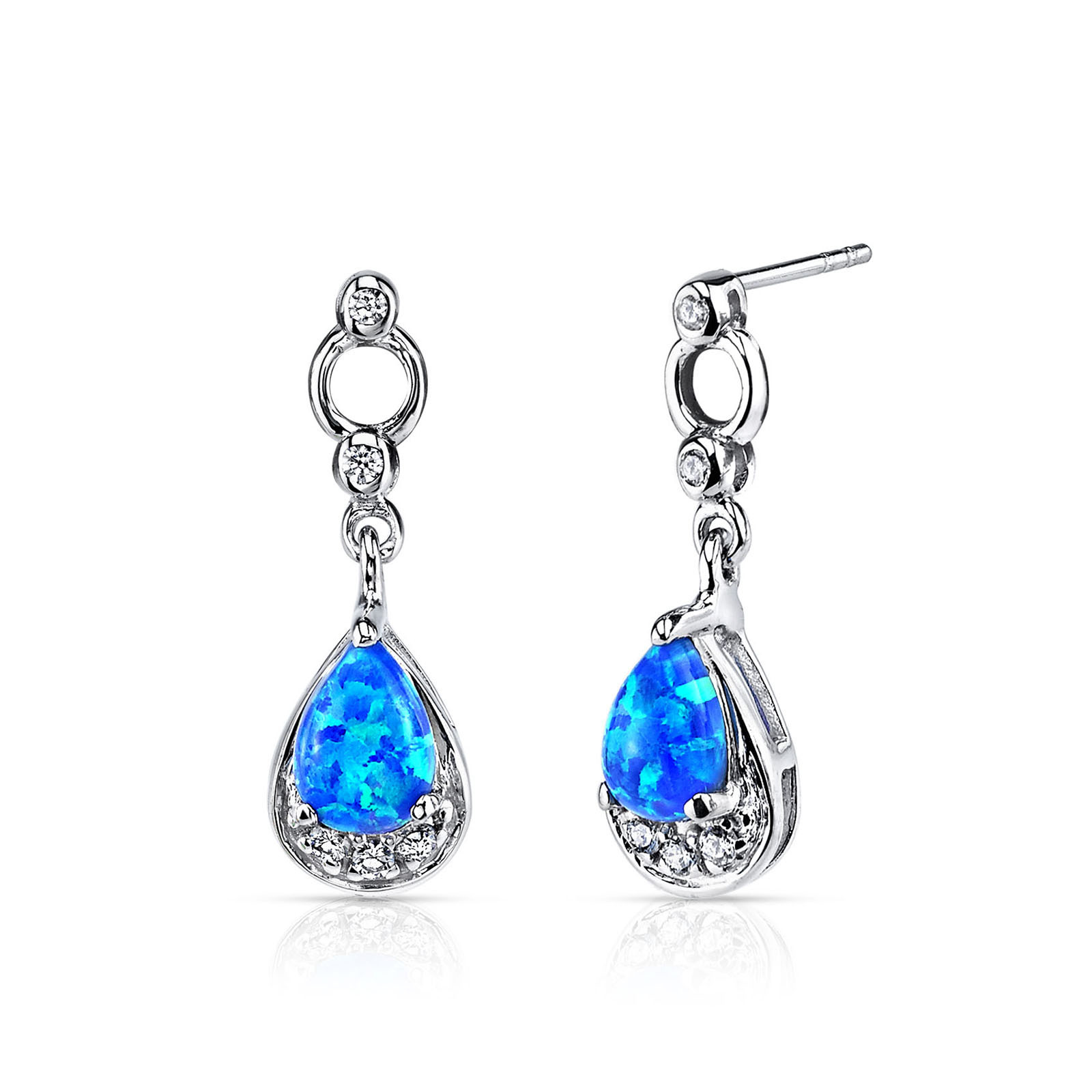 85faefd0db003 Blue-Green Opal & CZ Teardrop Drop Earrings in Sterling Silver