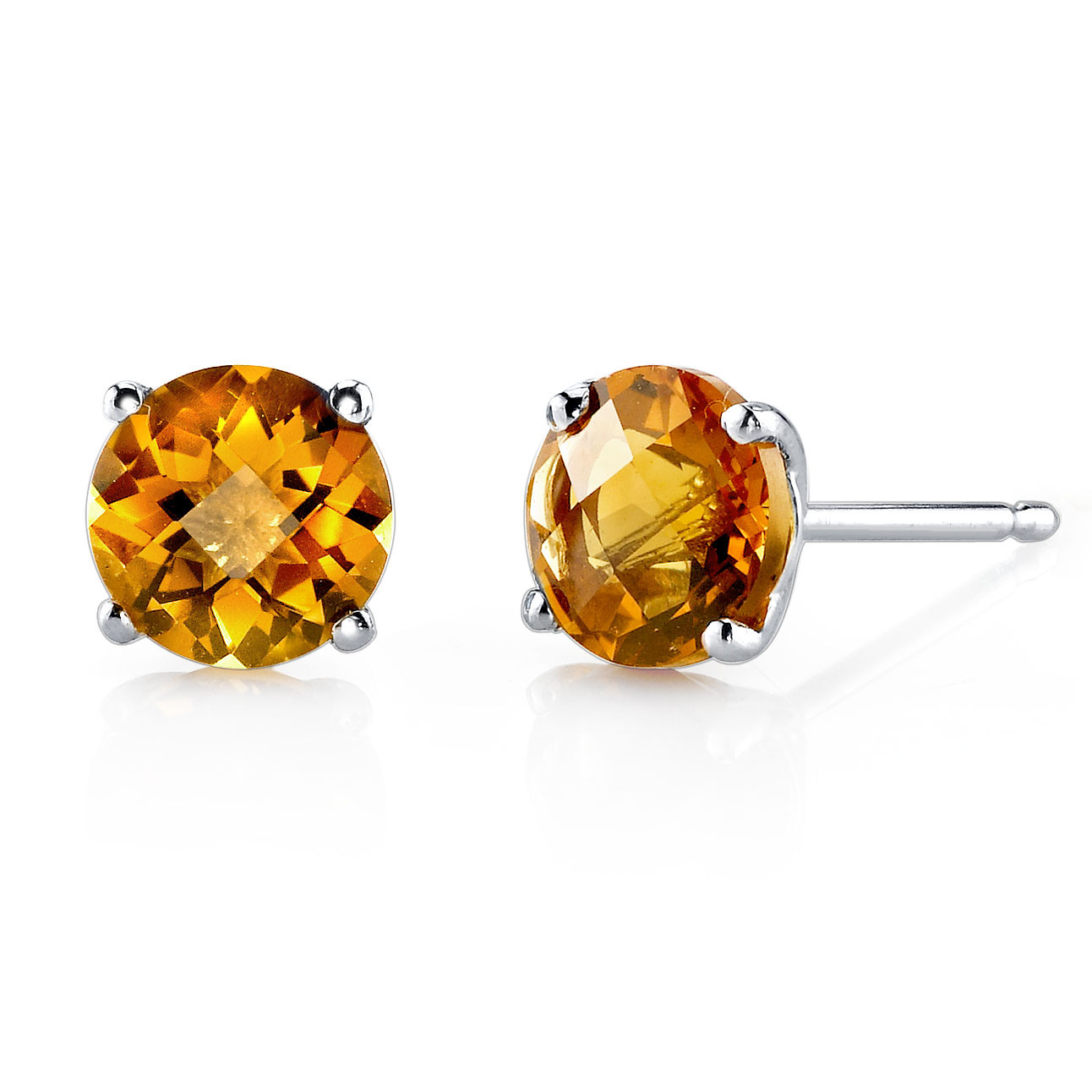 5aef67abd3430 Citrine Stud Earrings in 9ct White Gold