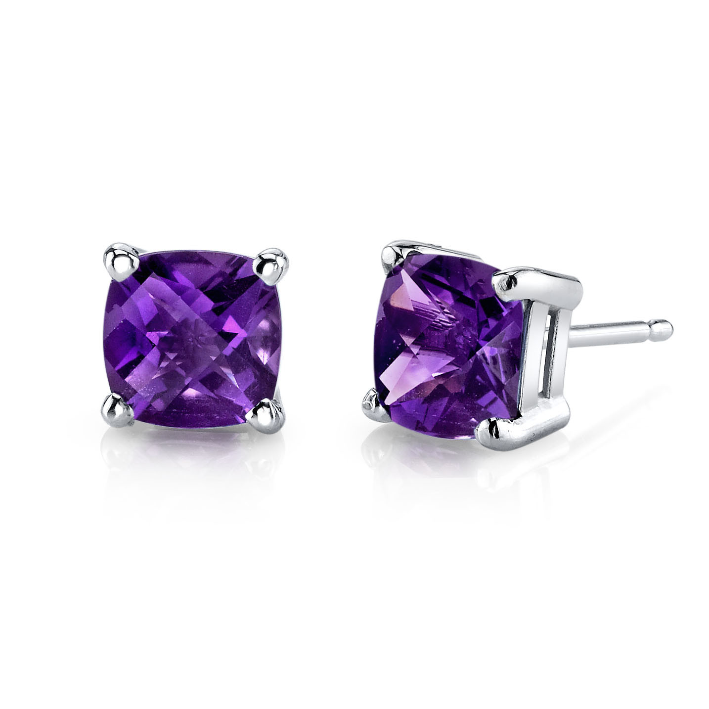 R149327w 519 Instock Https Rubyandoscar Cushion Cut Amethyst Stud Earrings In White Gold Ruby Oscar