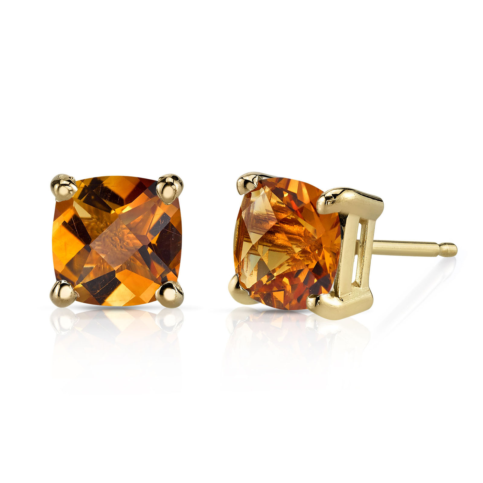 8db94b1867aa3 Cushion Cut Citrine Stud Earrings in 9ct Gold