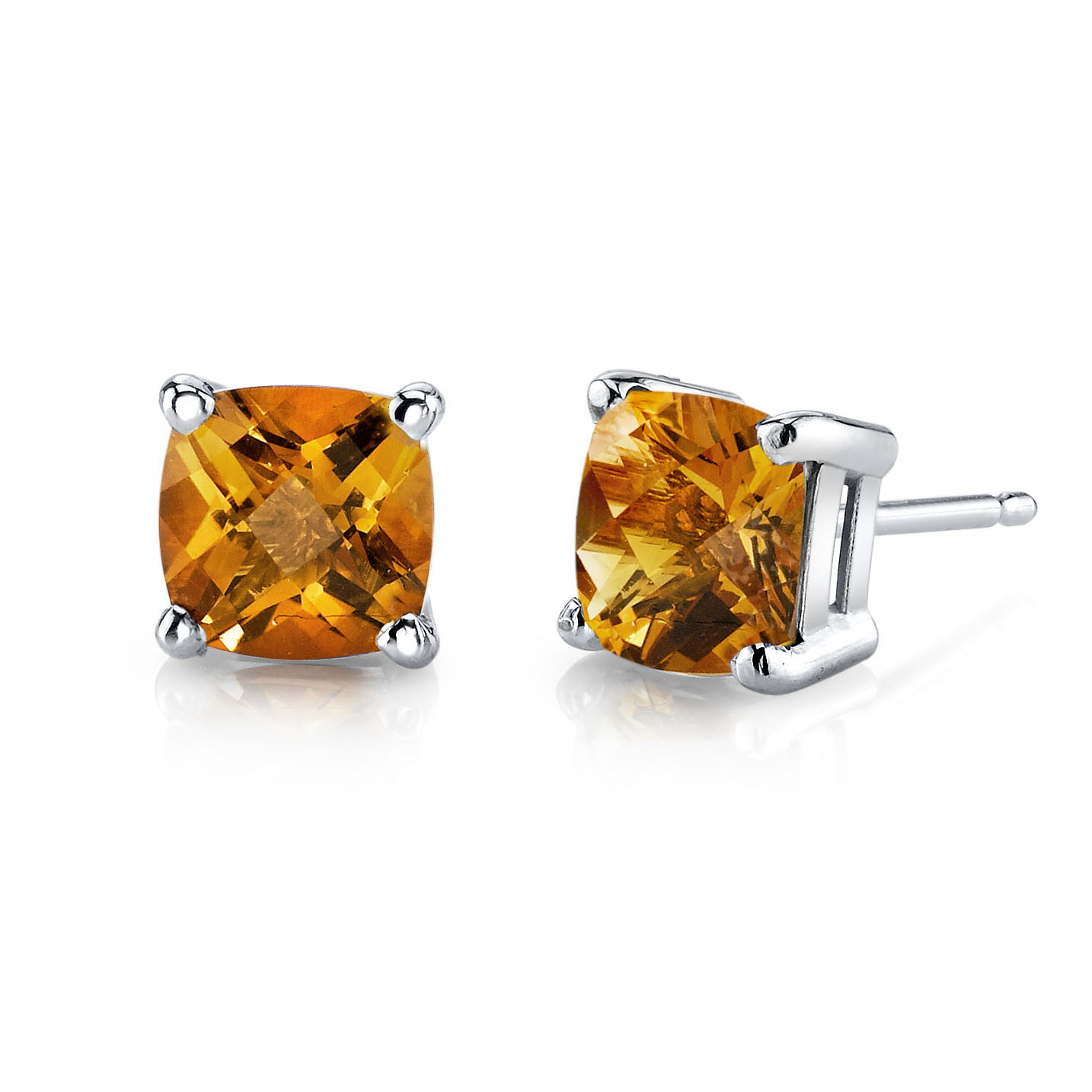 c6da90c3b5bf1 Cushion Cut Citrine Stud Earrings in 9ct White Gold