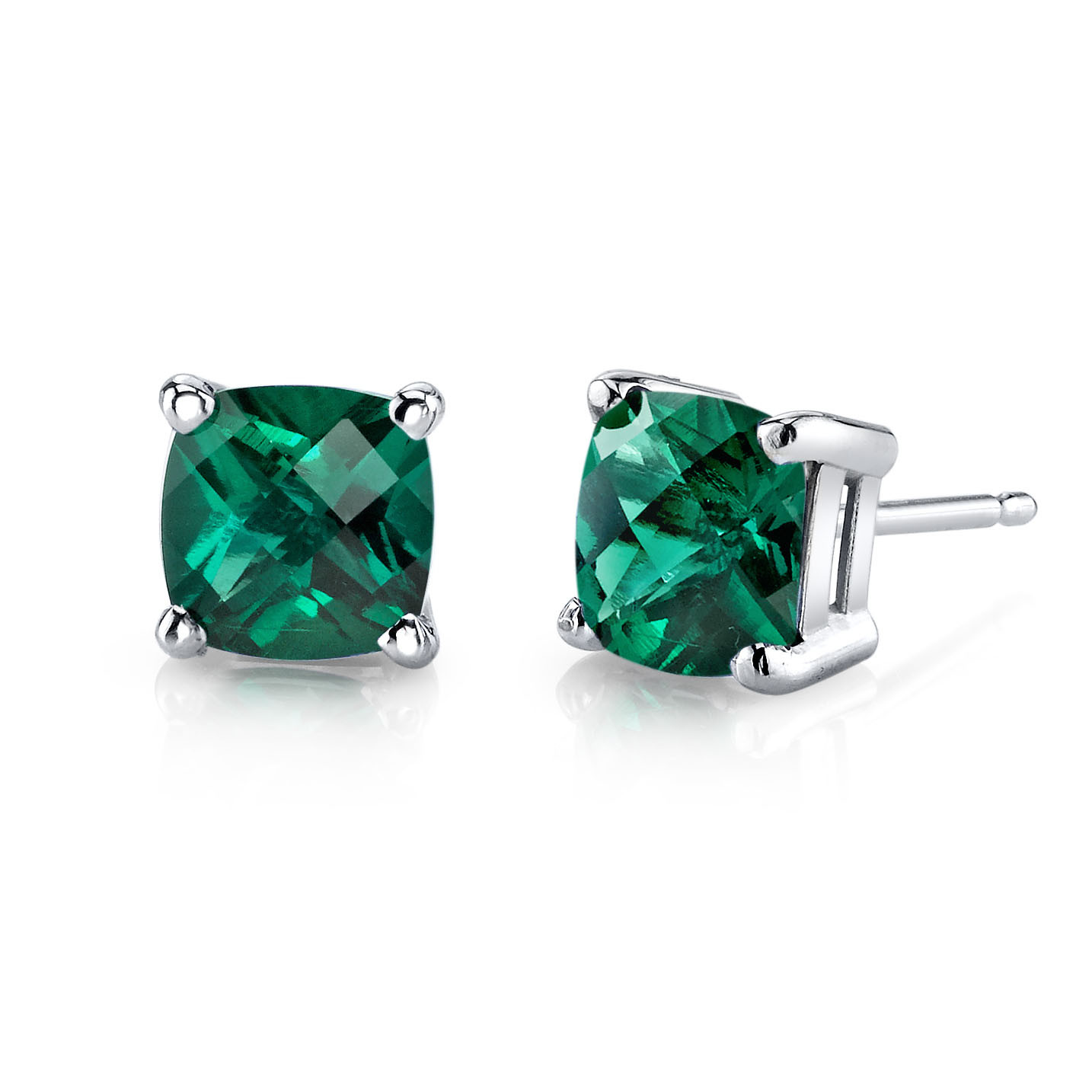 Cushion Cut Emerald Stud Earrings In 9ct White Gold