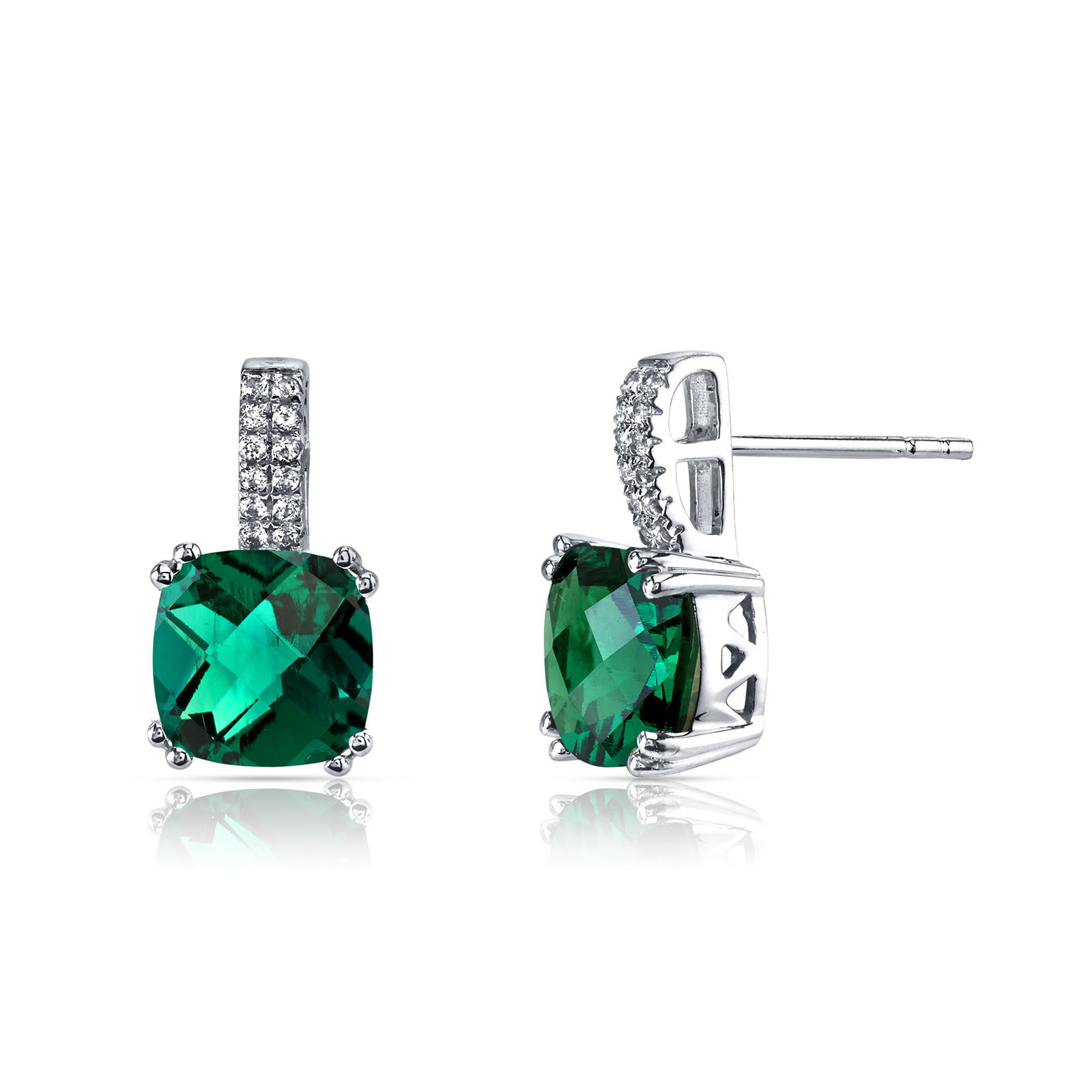 Cushion Cut Emerald White Topaz Earrings In 9ct White Gold
