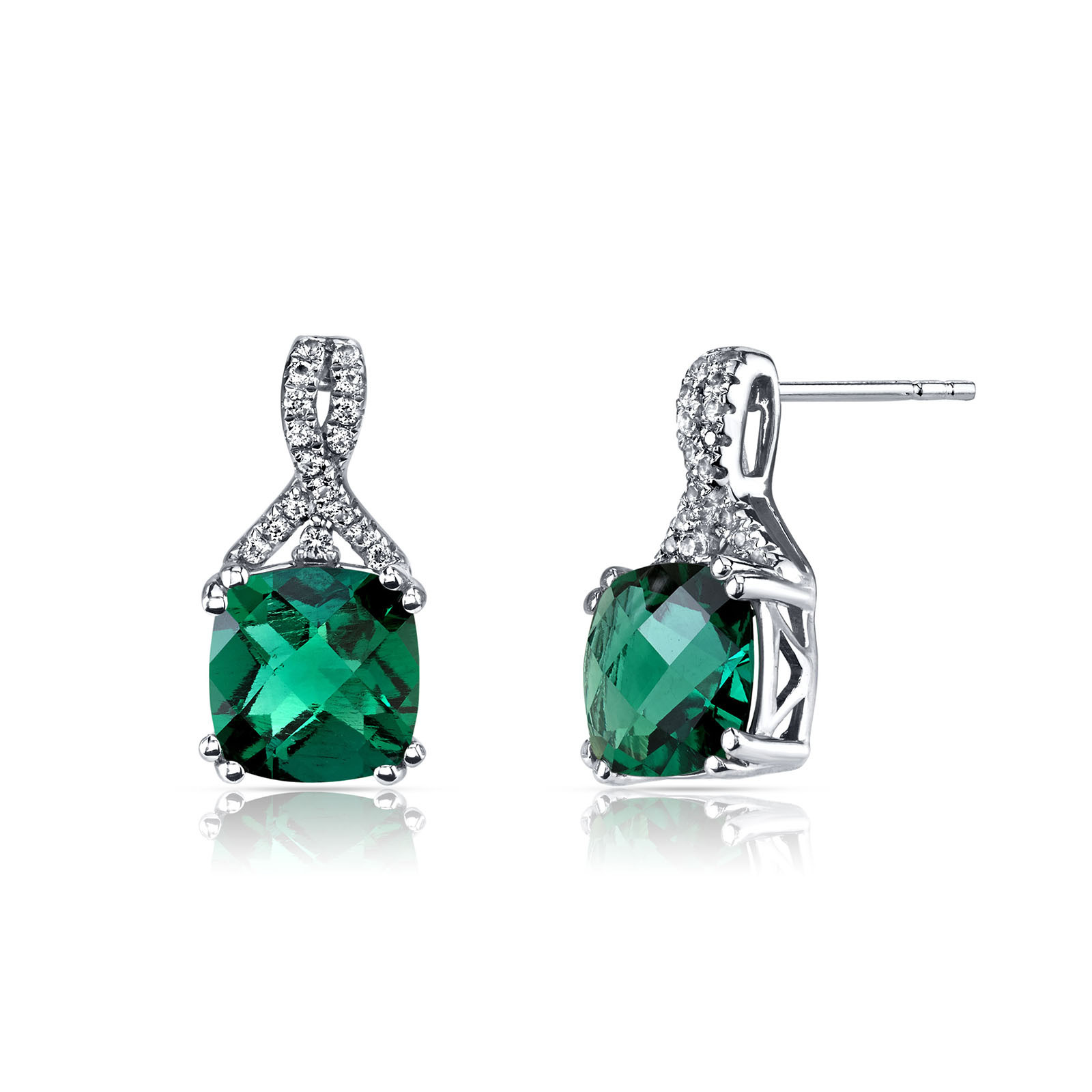 Cushion Cut Emerald White Topaz Ribbon Earrings In 9ct White Gold