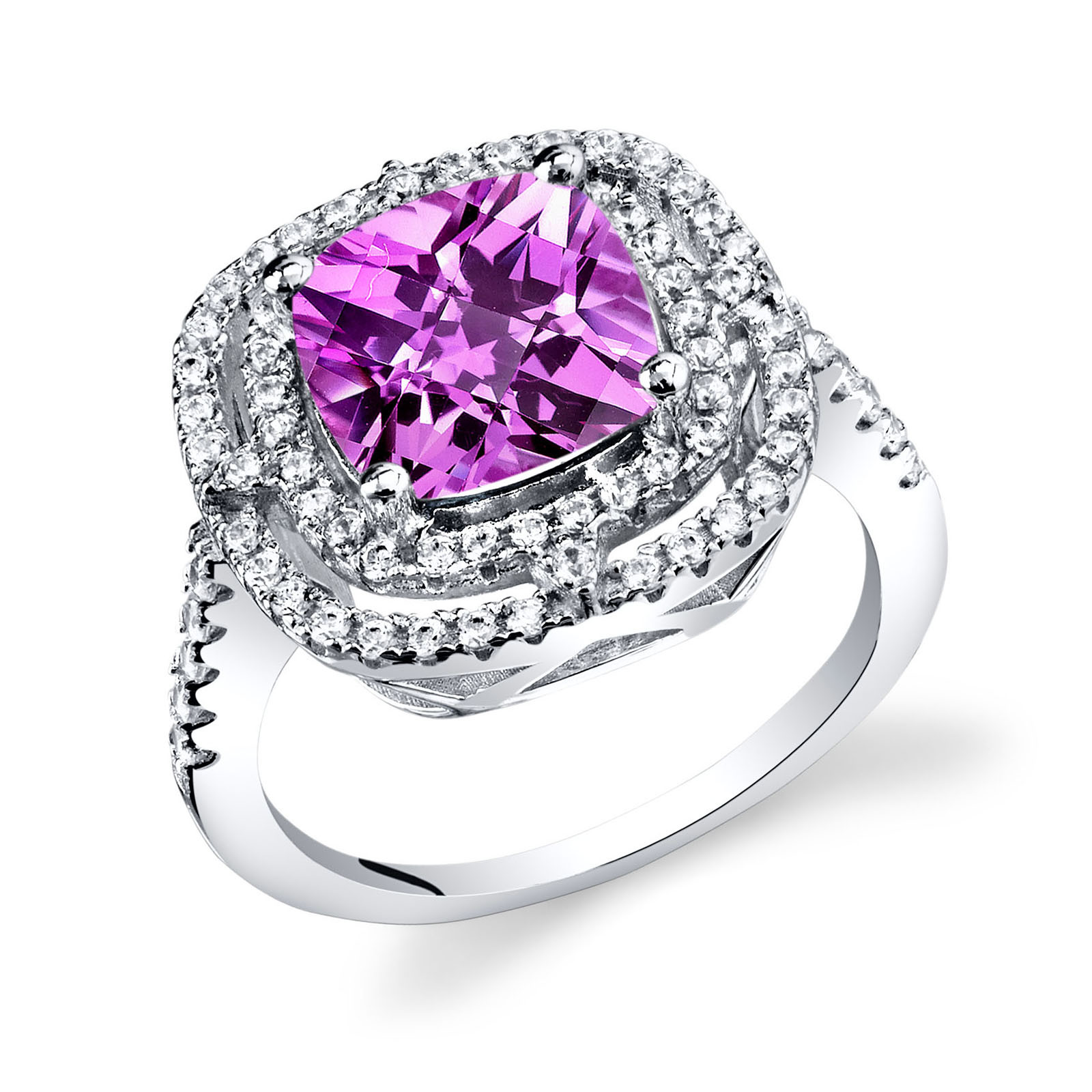 Cushion Cut Pink Sapphire Cz Cocktail Ring In Sterling Silver