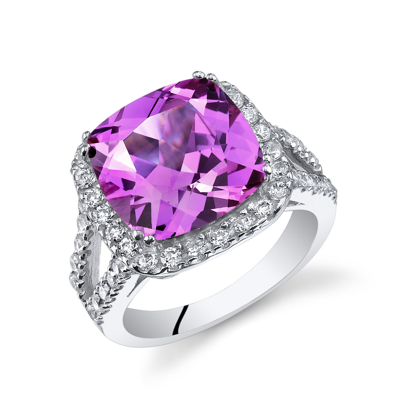 Cushion Cut Pink Sapphire Cz Ring In Sterling Silver