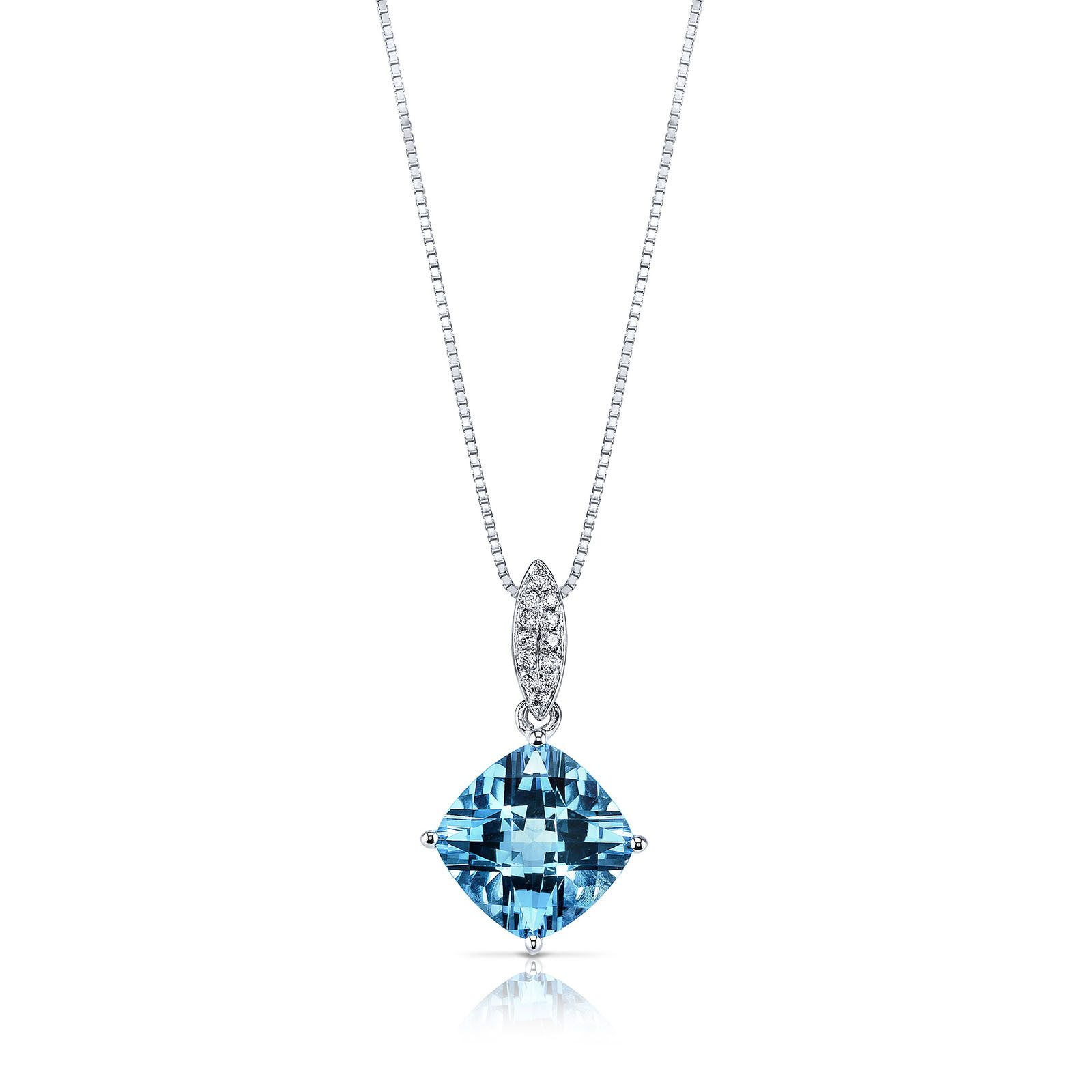 Cushion Cut Swiss Blue Topaz Diamond 9ct White Gold Pendant Necklace With Silver Chain