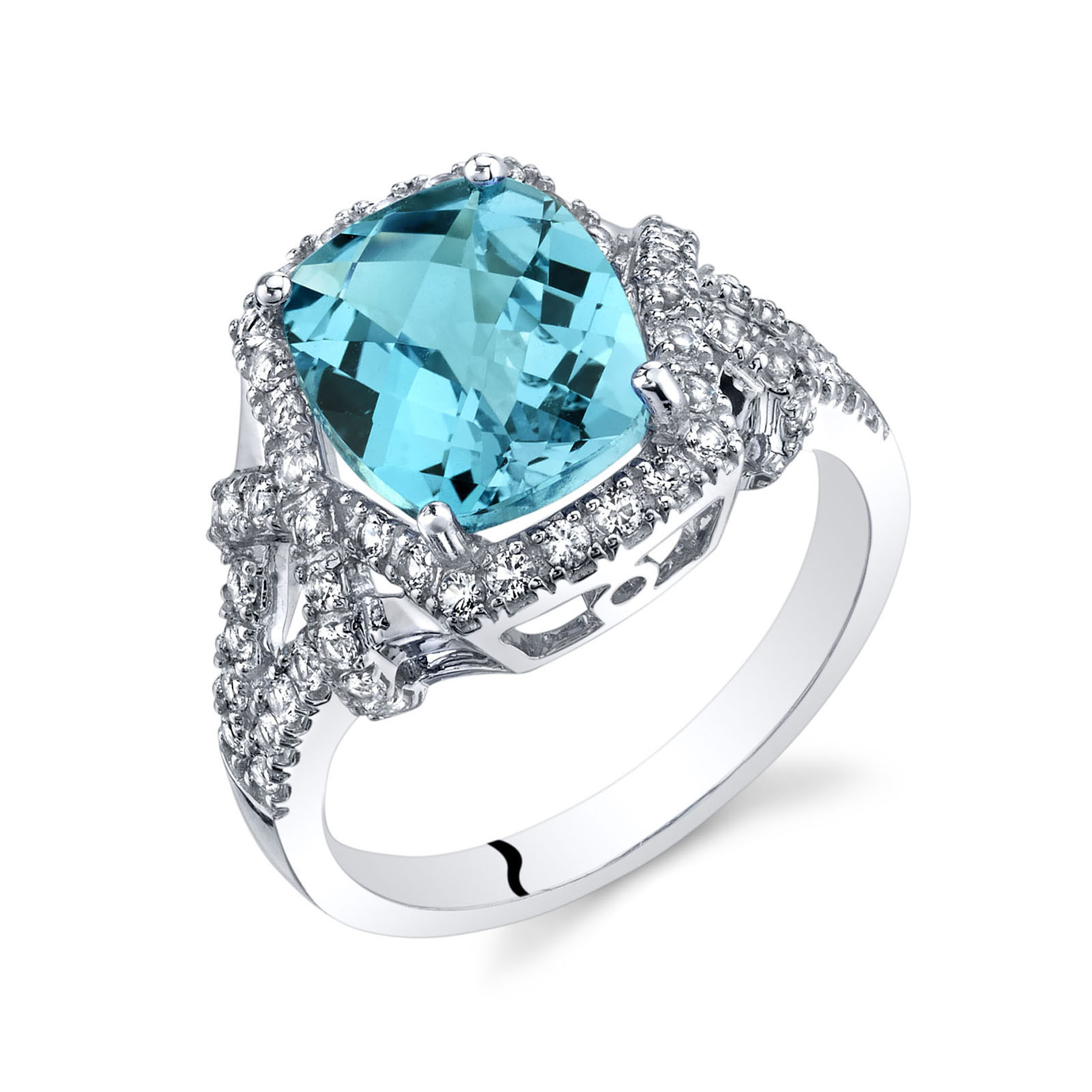 Cushion Cut Swiss Blue Topaz White Topaz Cocktail Statement Ring In 9ct White Gold