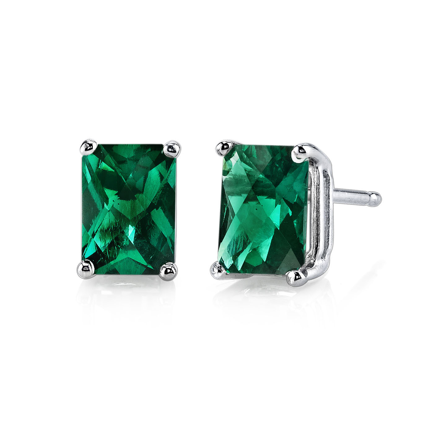 Emerald Stud Earrings In 9ct White Gold