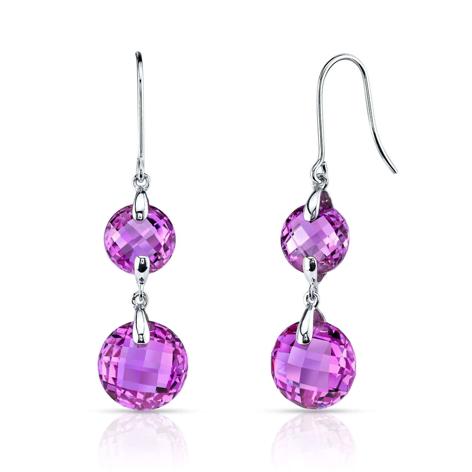 pink sapphire drop earrings in 9ct white gold r135693w
