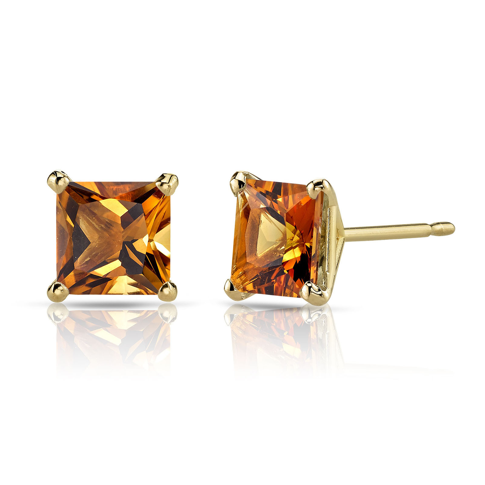 9e830c74b30ef Princess Cut Citrine Stud Earrings in 9ct Gold