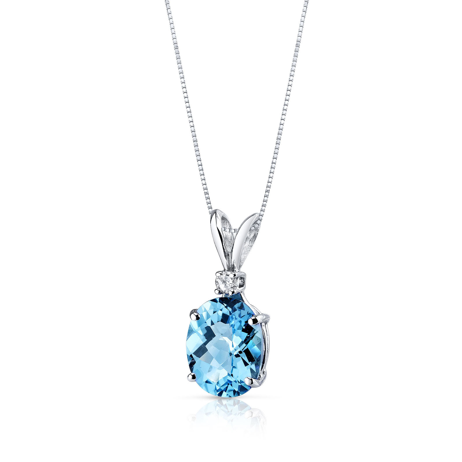 a47c8a575 Ruby & Oscar Swiss Blue Topaz & Diamond 9ct White Gold Pendant Necklace  with Silver Chain ...