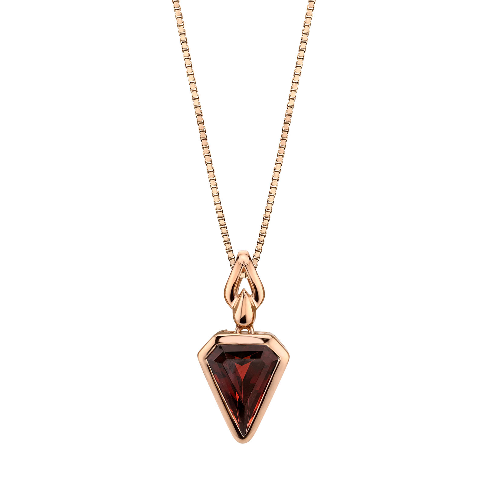 Garnet Chevron 9ct Rose Gold Pendant with Rose Gold Plated Silver Chain