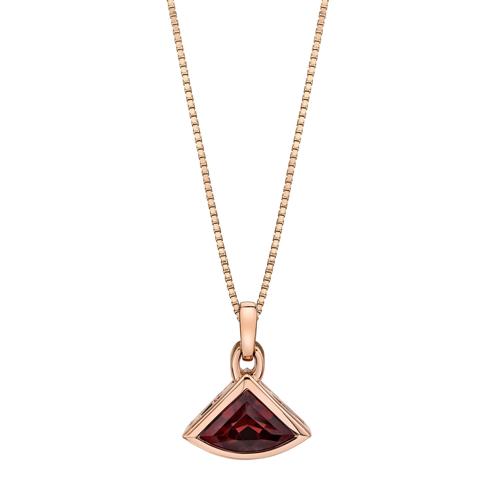 Garnet Fan 9ct Rose Gold Pendant with Rose Gold Plated Silver Chain