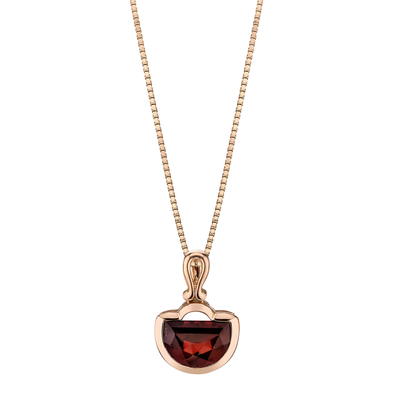 Garnet Half Moon 9ct Rose Gold Pendant with Rose Gold Plated Silver Chain