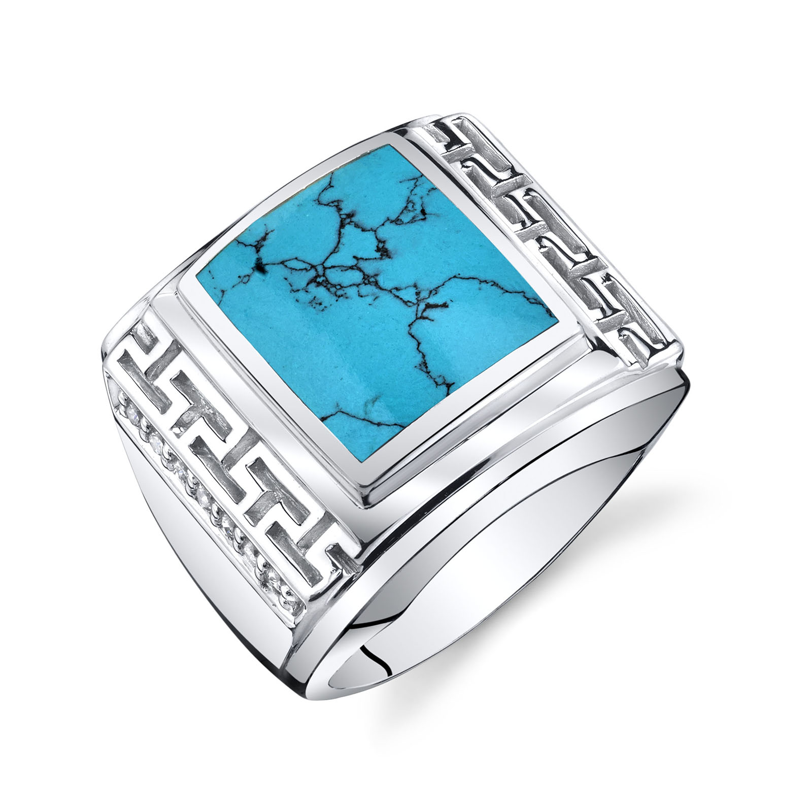 Men's Greek Key Turquoise Chunky Ring in Sterling Silver
