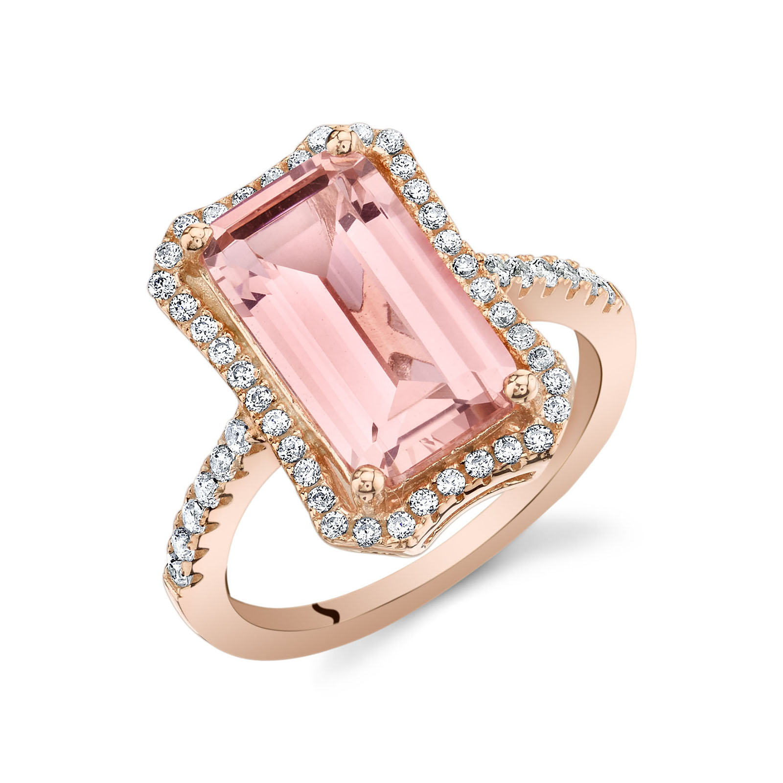 Morganite & CZ Rose-Tone Octagon Ring in Sterling Silver