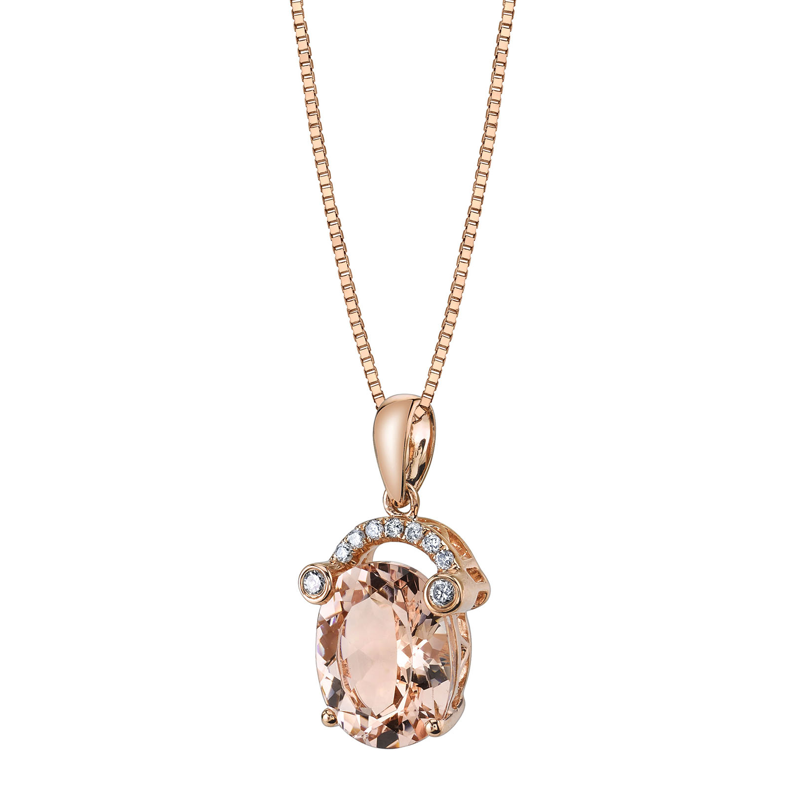 Morganite & Diamond 9ct Rose Gold Pendant with Rose Gold Plated Silver Chain