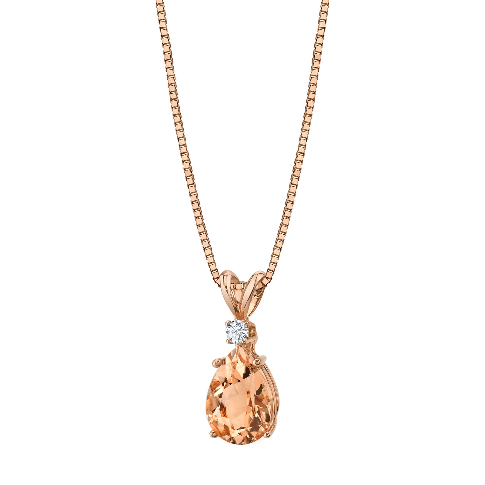 Morganite & Diamond 9ct Rose Gold Pendant Necklace with Rose Gold Plated Silver Chain