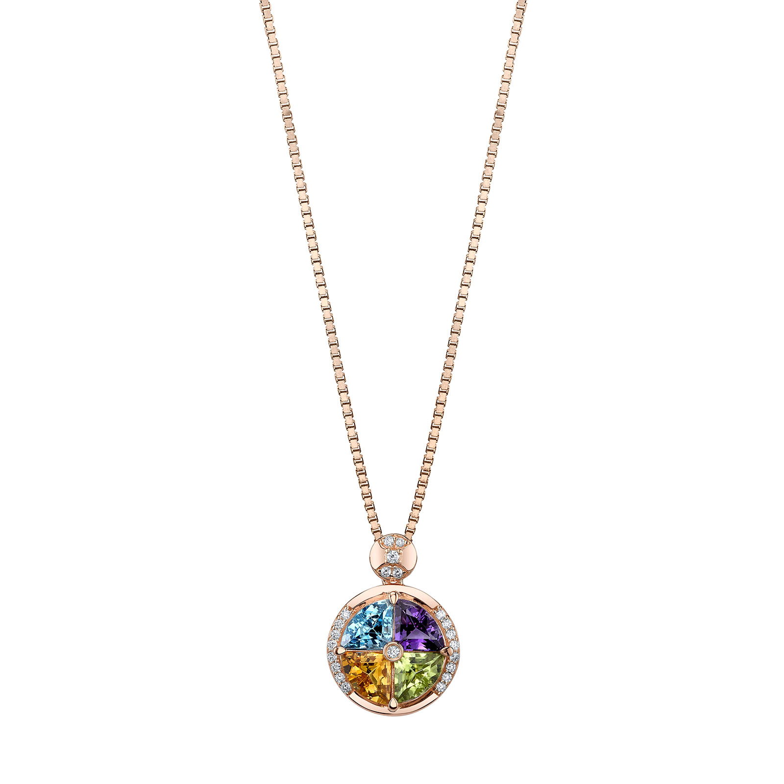 Multiple Gemstone Quattro Rose Tone Pendant Necklace in Sterling Silver