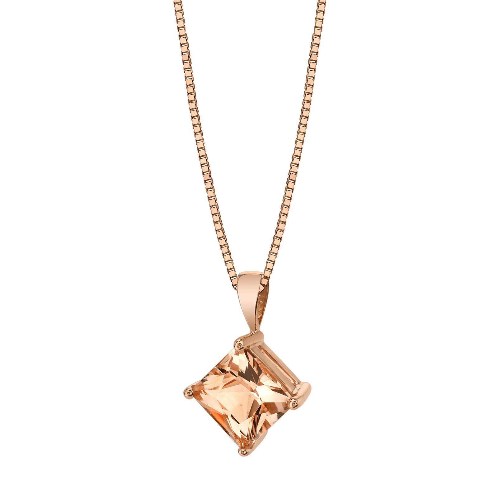 Princess Cut Morganite 9ct Rose Gold Pendant Necklace with Rose Gold Plated Silver Chain