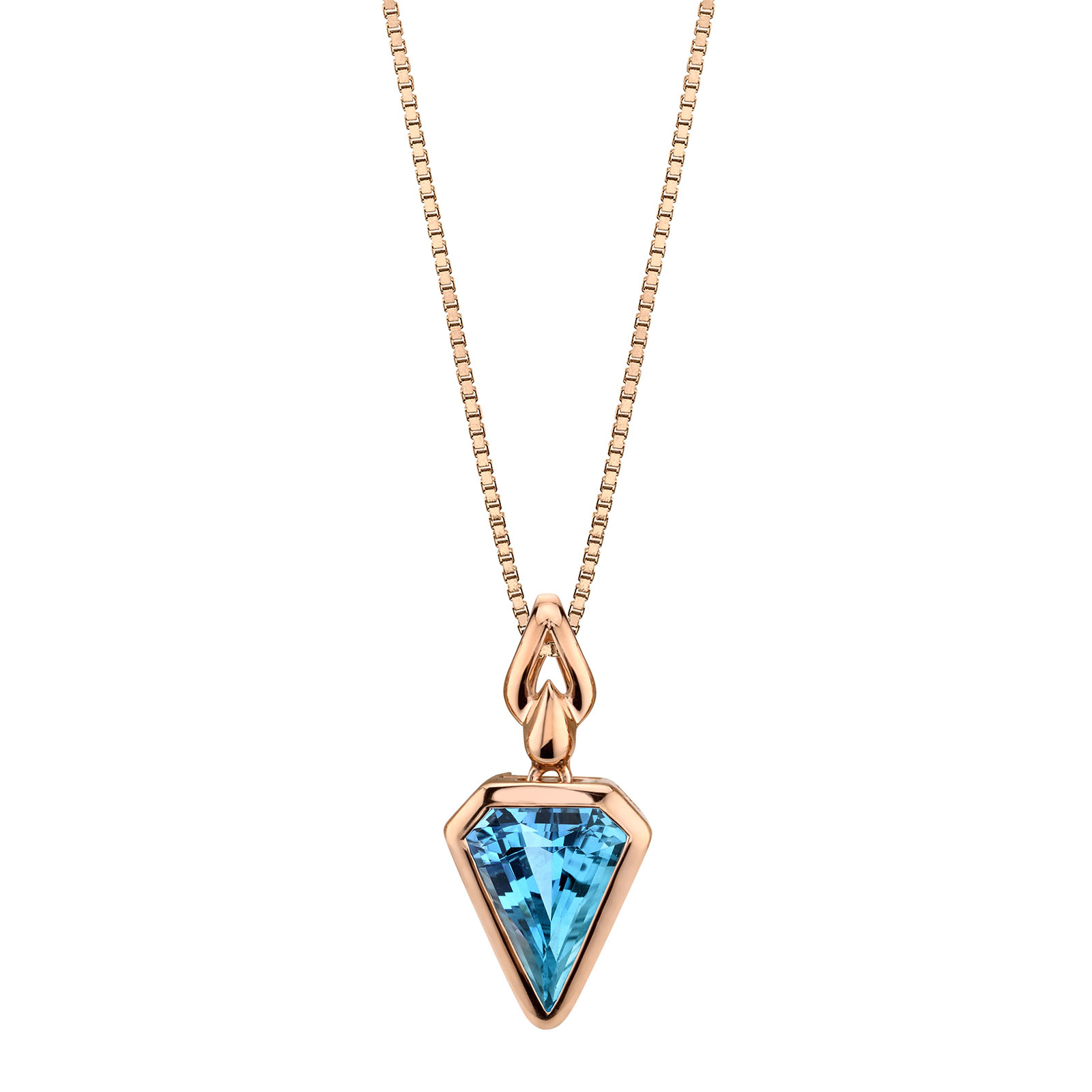 Swiss Blue Topaz Chevron 9ct Rose Gold Pendant with Rose Gold Plated Silver Chain