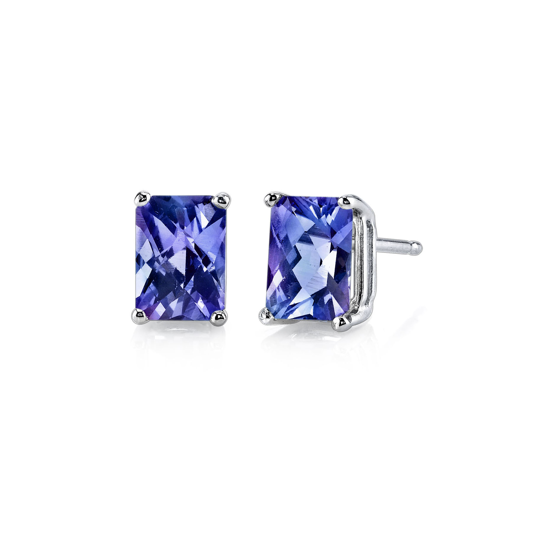 Alexandrite Stud Earrings In 9ct White Gold