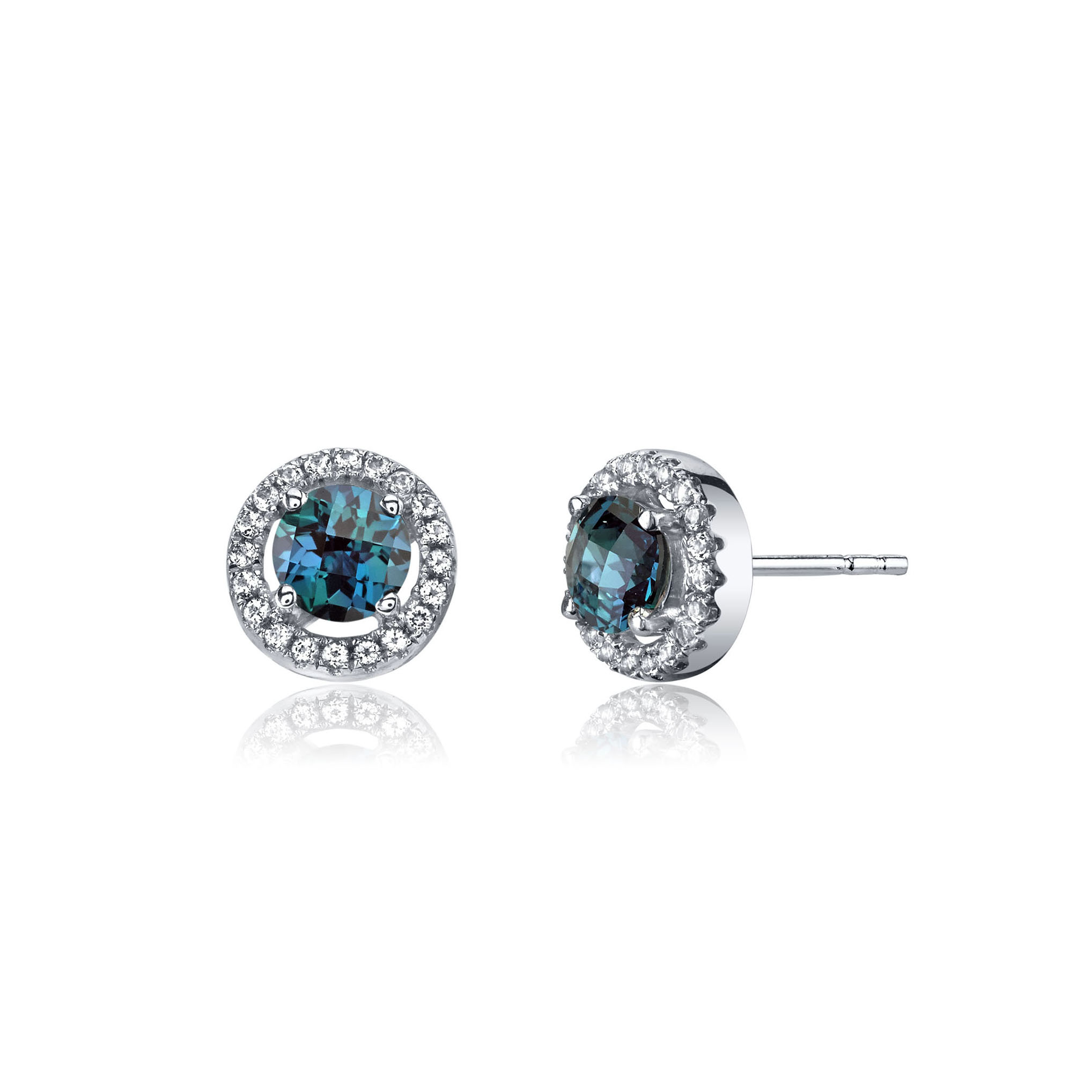 Alexandrite White Topaz Halo Stud Earrings In 9ct Gold