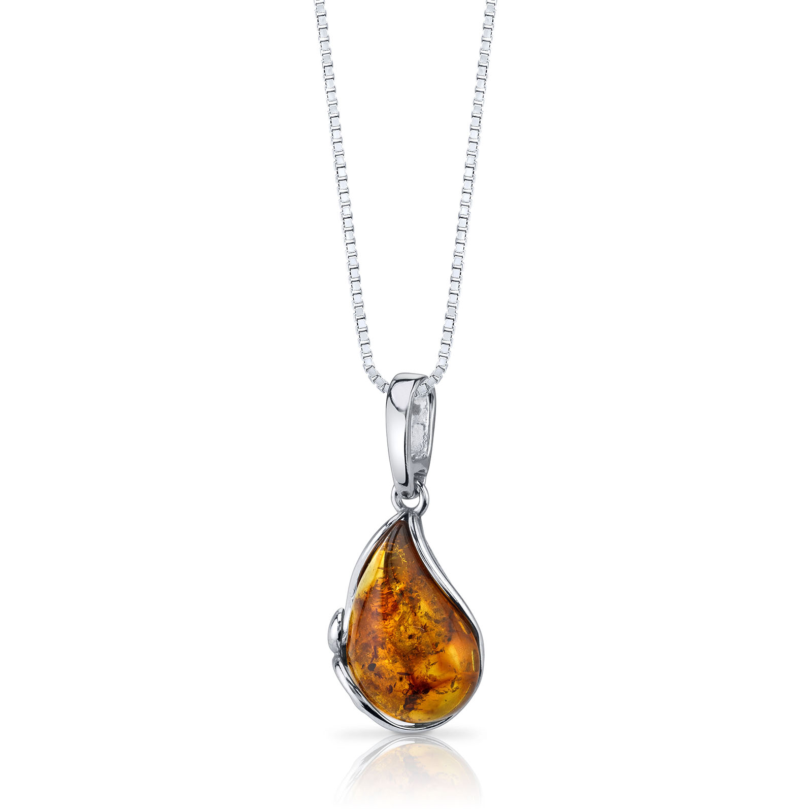 Amber Baltic Teardrop Cognac Colour Pendant Necklace in Sterling Silver