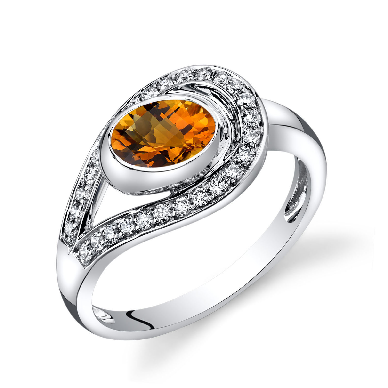 citrine amp diamond infinity ring in 14k white gold