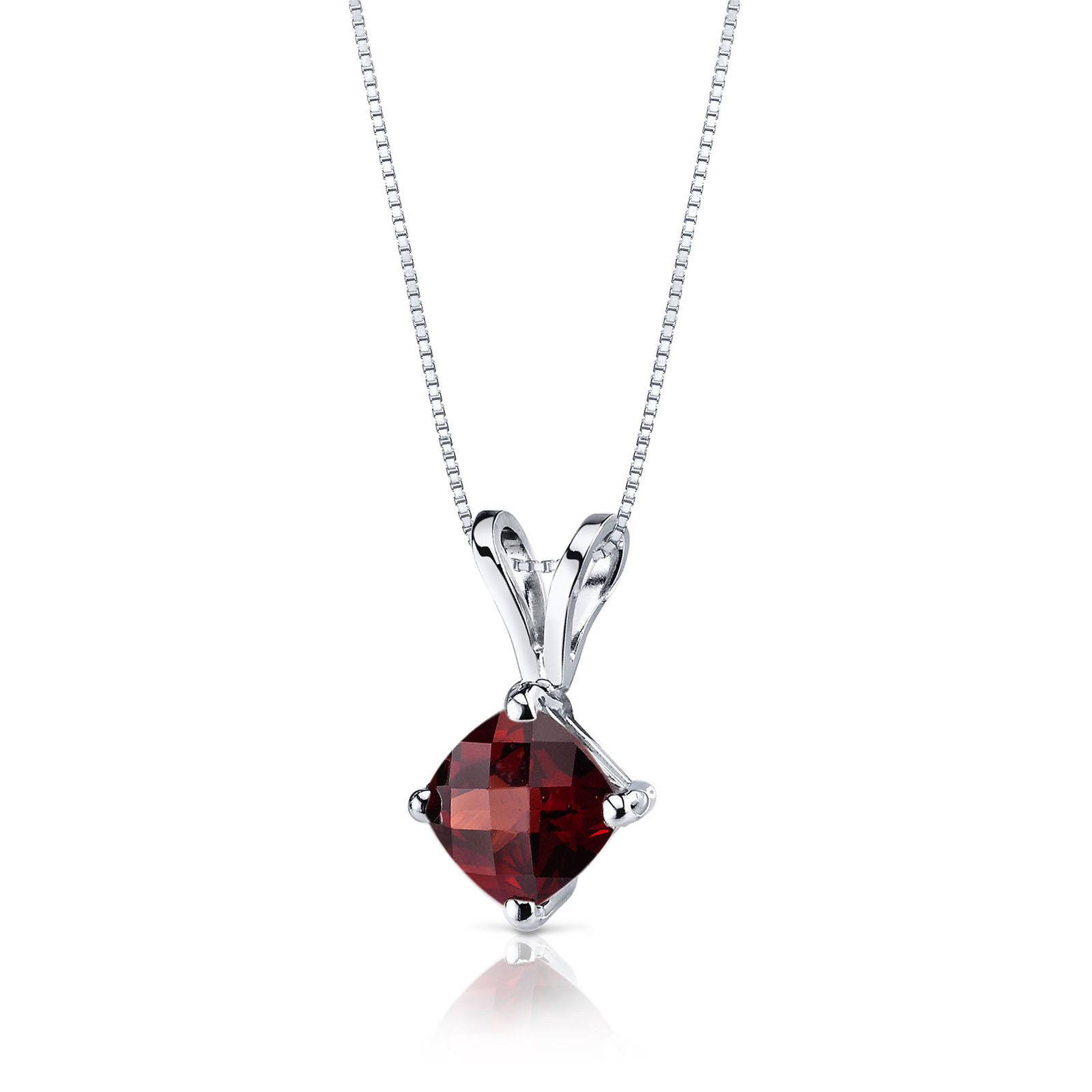Cushion Cut Garnet 9ct White Gold Pendant Necklace with Silver Chain