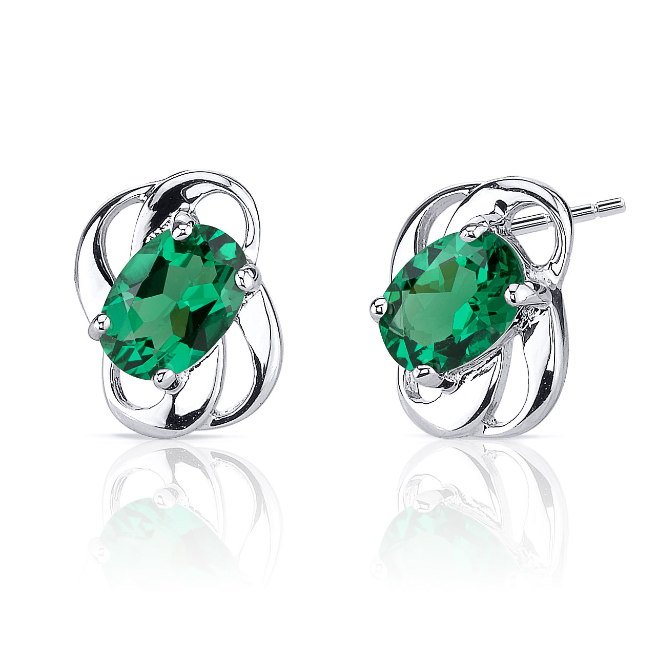 Emerald Drop Earrings in Sterling Silver