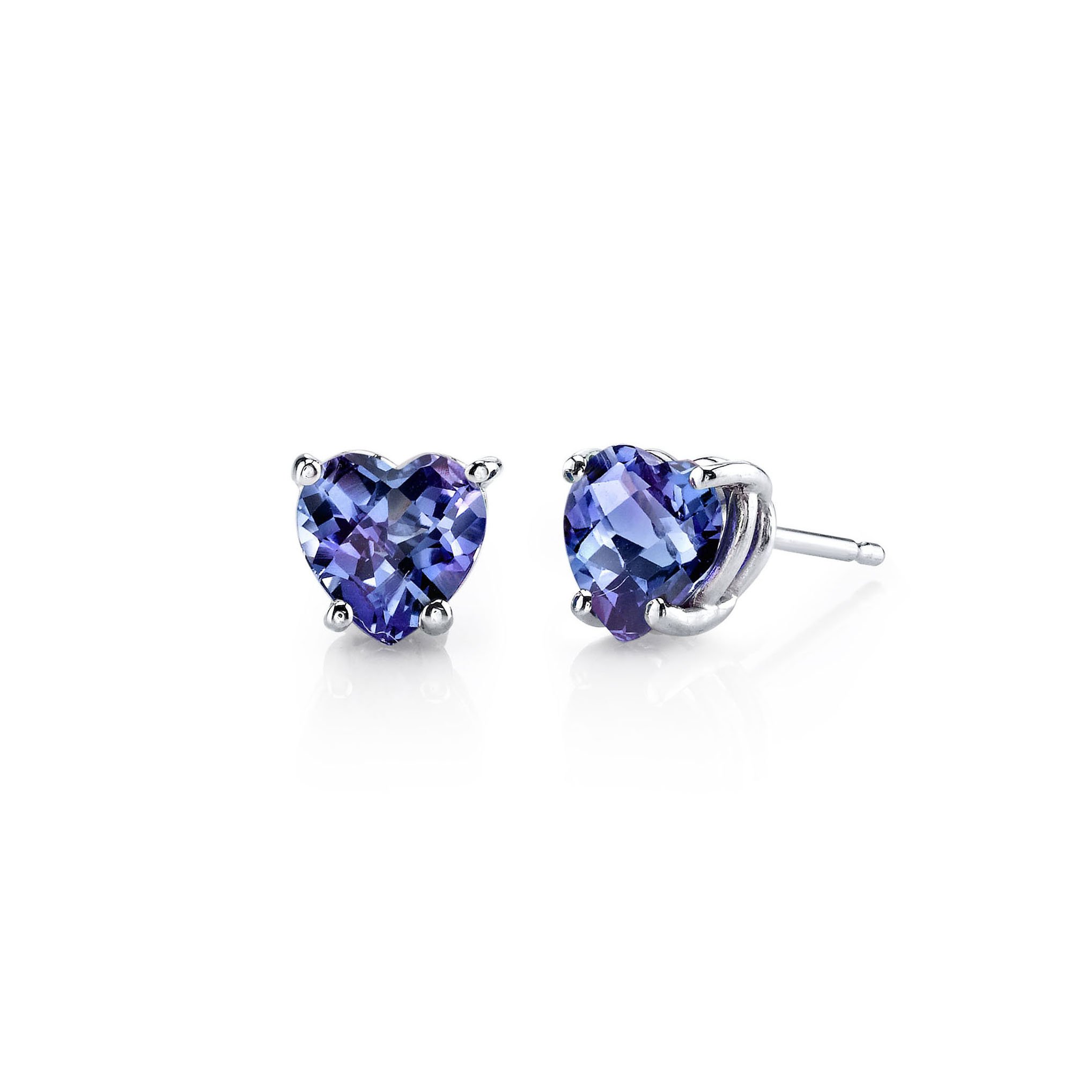 Heart Shaped Alexandrite Stud Earrings In 9ct White Gold