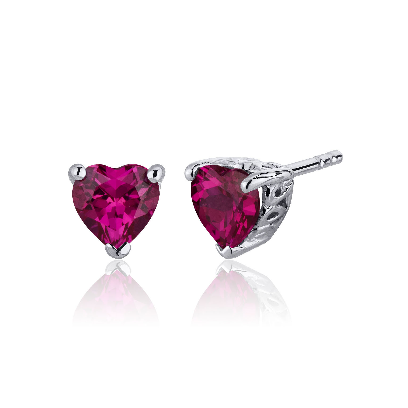 Heart Shaped Ruby Stud Earrings in Sterling Silver