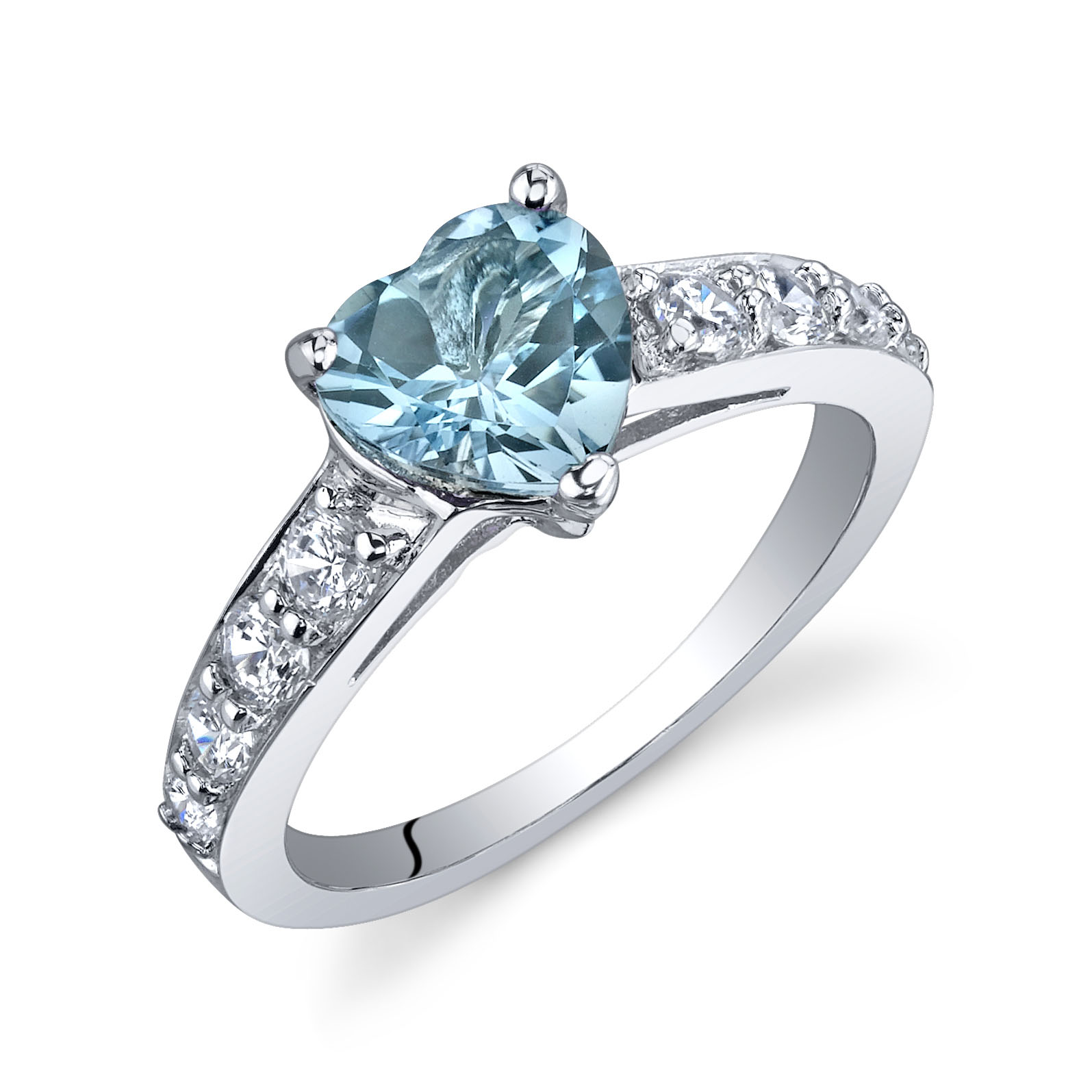 Heart Shaped Swiss Blue Topaz & CZ Dazzling Love Engagement Ring in Sterling Silver