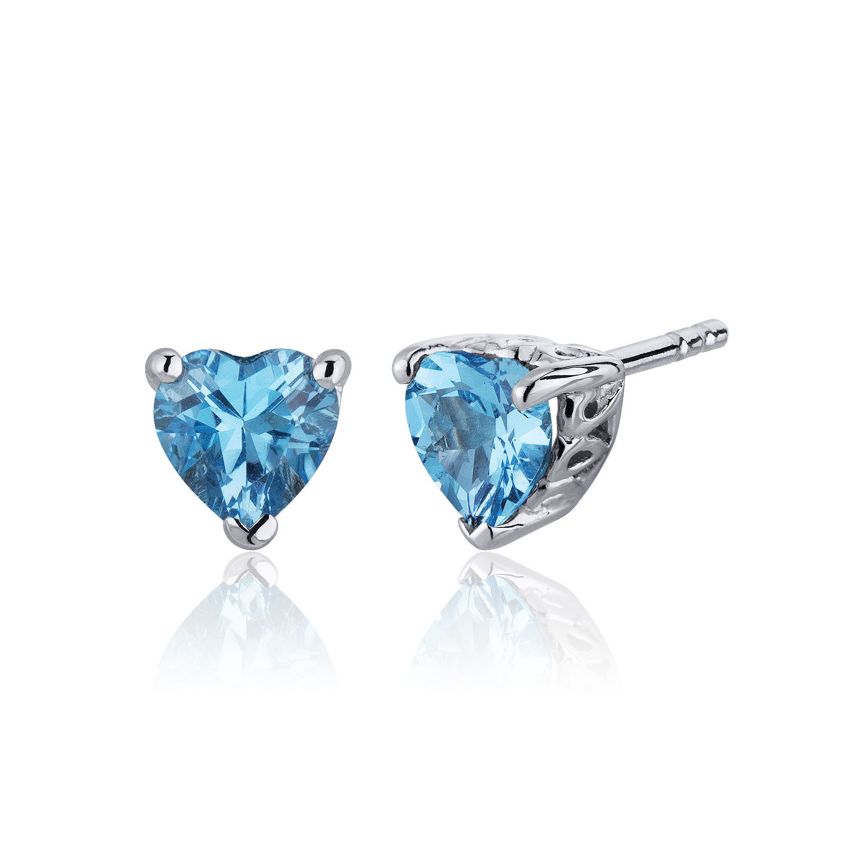 Heart Shaped Swiss Blue Topaz Stud Earrings in Sterling Silver