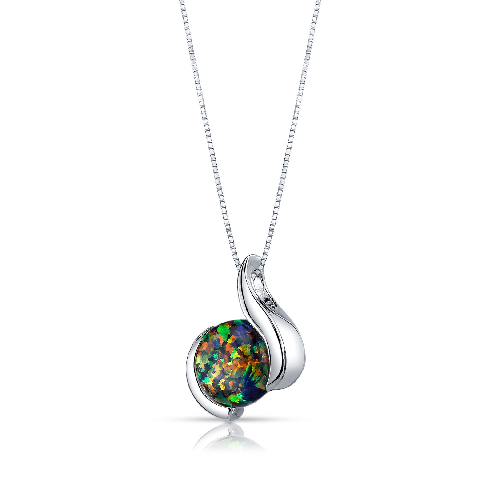 OPAL CABOCHON PENDANT NECKLACE IN STERLING SILVER