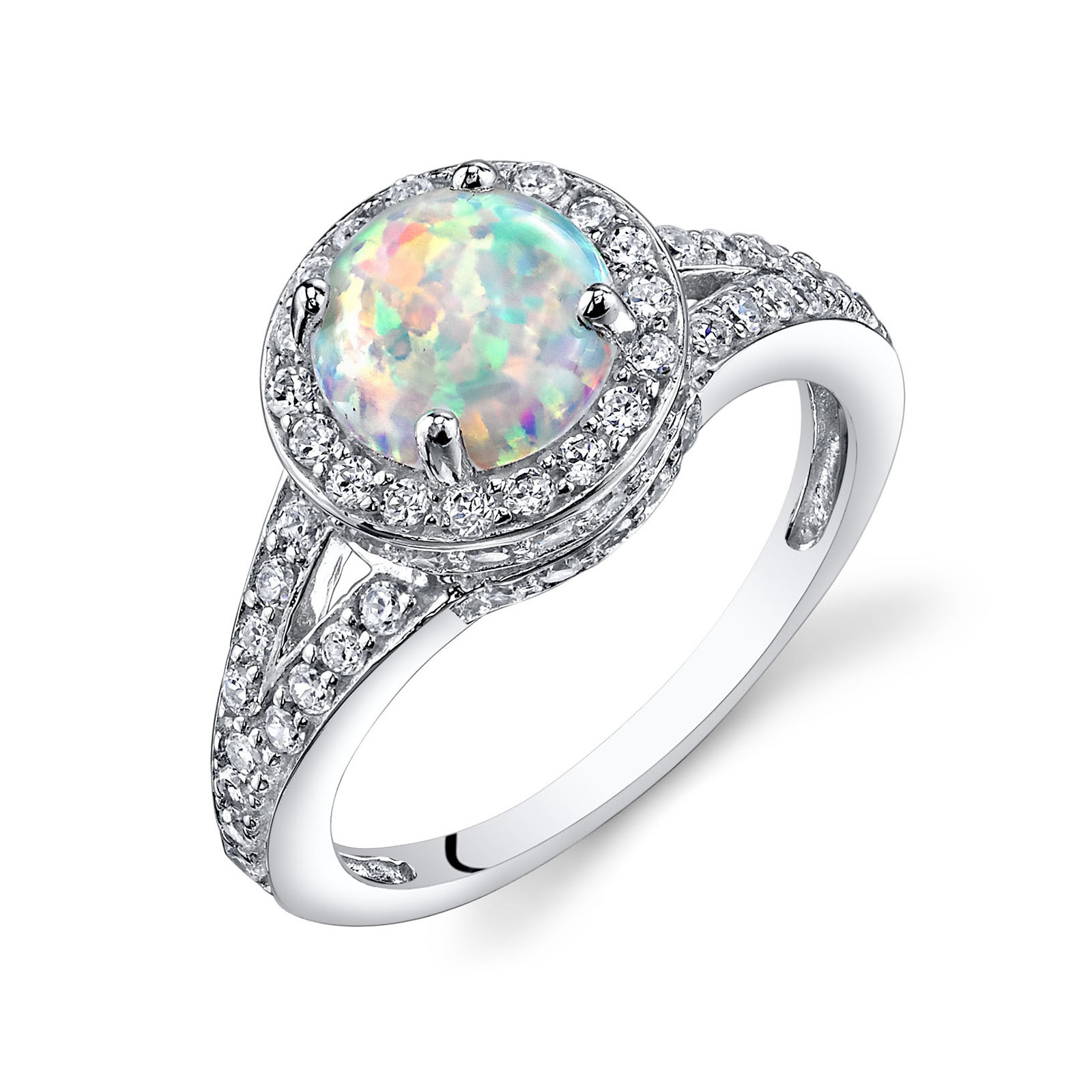 OPAL & CZ HALO RING IN STERLING SILVER