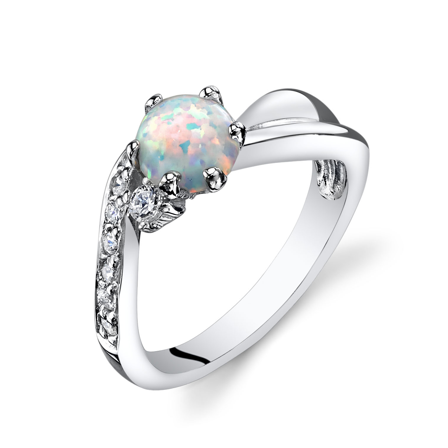 Opal & CZ Love Waves Cabochon Ring in Sterling Silver